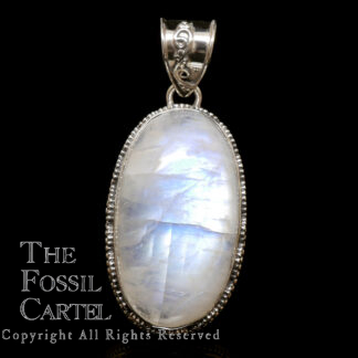 A sterling silver pendant featuring an oval rainbow moonstone cabochon against a black background