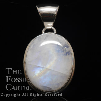 A simple sterling silver pendant featuring an oval rainbow moonstone cabochon against a black background