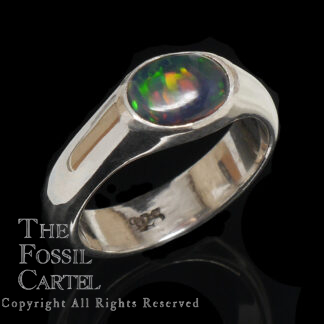 Ethiopian Black Opal Oval Sterling Ring
