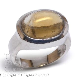 Citrine Oval Cabochon Sterling Silver Ring; Size 10