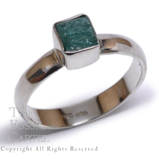 Rough Emerald Sterling Silver Ring, Size 8