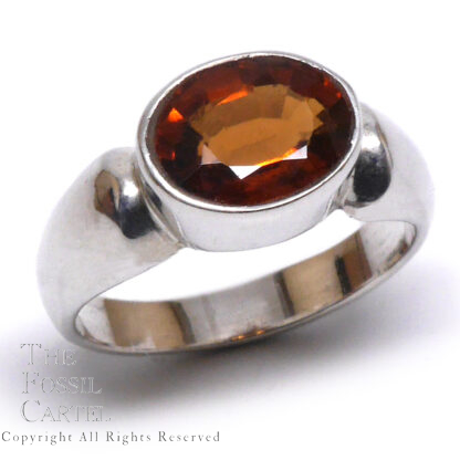 Hessonite Garnet Oval-Cut Sterling Silver Ring; Size 5 3/4