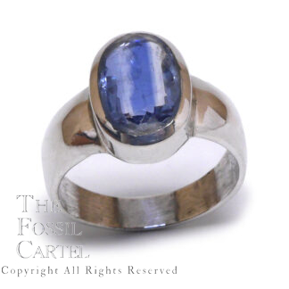 Blue Kyanite Oval Faceted Sterling Silver Ring; Size 10