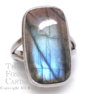 Labradorite Rectangular Sterling Silver Ring; Size 10