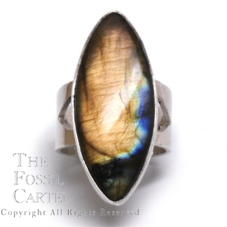 Labradorite Marquise Shape Sterling Silver Ring; Size 9 1/2