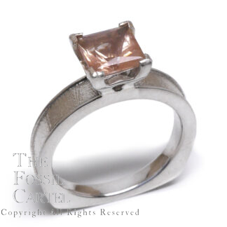 Oregon Sunstone Princess Cut Sterling Silver Ring; Size 7