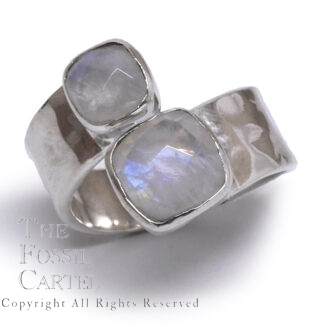 Rainbow Moonstone Faceted Square Sterling Silver Ring, Size 6