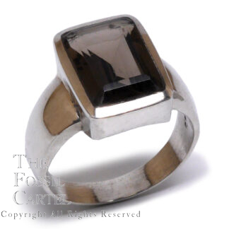 Smoky Quartz Emerald Cut Sterling Silver Ring; Size 11