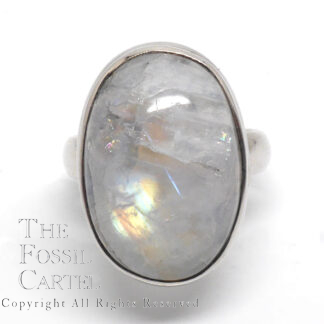 A simple sterling silver ring featuring a large oval rainbow moonstone against a white background
