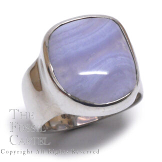 Blue Lace Agate Cabochon Sterling Silver Ring; Size 10