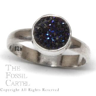Aura Quartz Druzy Circular Sterling Silver Ring; Size 9