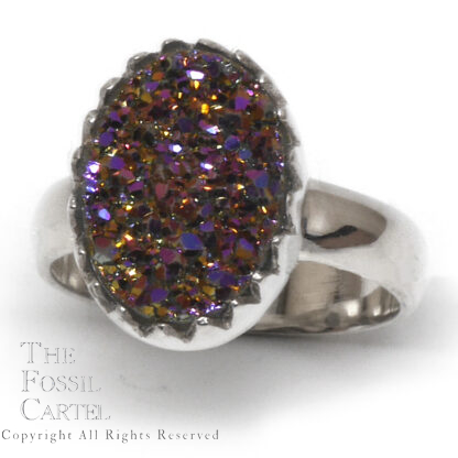 Aura Quartz Druzy Oval Sterling Silver Ring; Size 8