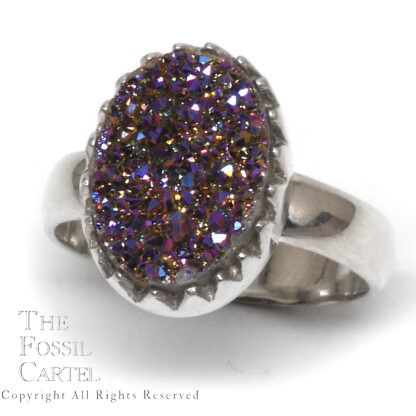 Aura Quartz Druzy Oval Sterling Silver Ring; Size 9