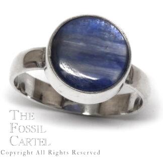 Kyanite Circular Cabochon Sterling Silver Ring; Size 10 1/4