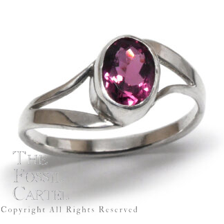 Pink Tourmaline Faceted Oval Sterling Silver Ring; Size 8