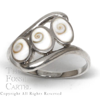 Shiva Shell Oval Tri-Stone Sterling Silver Ring; Size 9