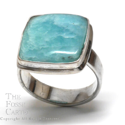 Amazonite Square Cabochon Sterling Silver Ring; Size 8
