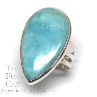 Amazonite Teardrop Cabochon Sterling Silver Ring; Size 9 1/2