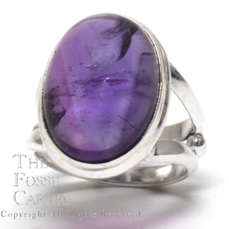 Amethyst Oval Cabochon Sterling Silver Ring; Size 6 1/2