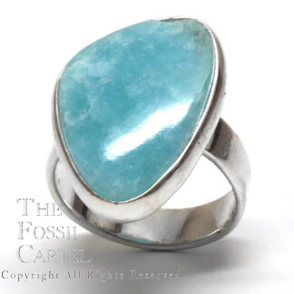 Amazonite Free Form Cabochon Sterling Silver Ring; Size 7 1/2