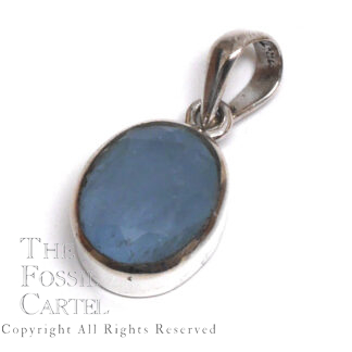 Aquamarine Oval Faceted Sterling Silver Pendant