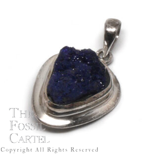 Azurite Rough Sterling Silver Pendant