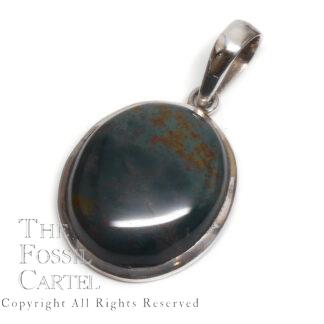 Bloodstone Oval Sterling Silver Pendant