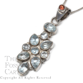 Blue Topaz Faceted Sterling Silver Pendant