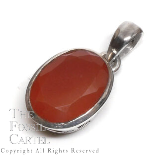 Carnelian Agate Faceted Oval Sterling Silver Pendant