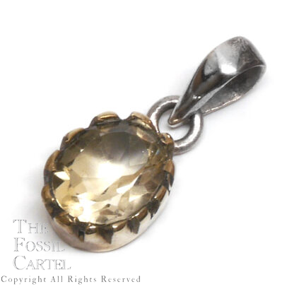 Citrine Oval Faceted Brass and Sterling Silver Pendant