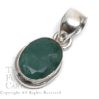 Emerald Oval Faceted Sterling Silver Pendant