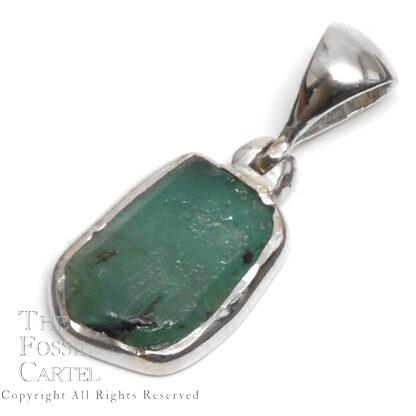Emerald Rough Sterling Silver Pendant