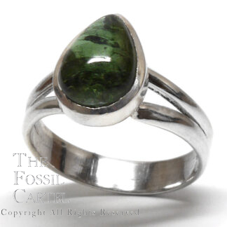 Green Tourmaline Teardrop Cabochon Sterling Silver Ring; Size 7