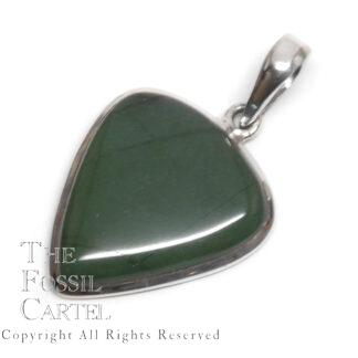 Jade Triangular Sterling Silver Pendant