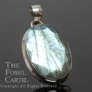 Labradorite Oval Faceted Sterling Silver Pendant