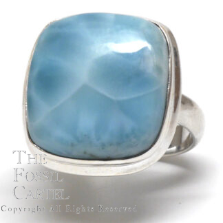 Larimar Square Cabochon Sterling Silver Ring; Size 8
