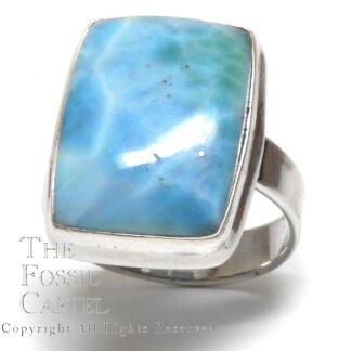 Larimar Rectangular Cabochon Sterling Silver Ring; Size 8 1/2