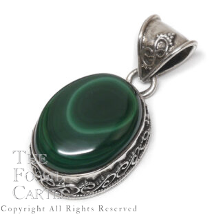 Malachite Oval Sterling Silver Pendant