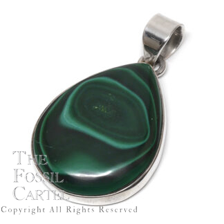Malachite Teardrop Sterling Silver Pendant