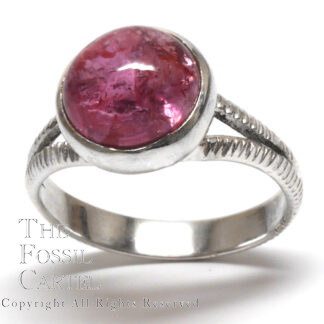 Pink Tourmaline Round Cabochon Sterling Silver Ring; Size 8