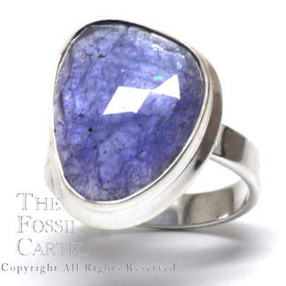 Tanzanite Free Form Faceted Sterling Silver Ring; Size 9