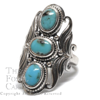 Tibetan Turquoise Three Stone Sterling Silver Ring; Size 9