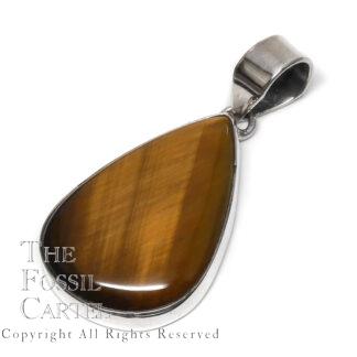 Tiger Eye Teardrop Sterling Silver Pendant