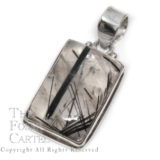 Tourmalinated Quartz Rectangle Sterling Silver Pendant