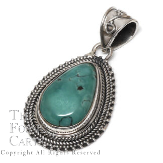 Turquoise Teardrop Sterling Silver Pendant