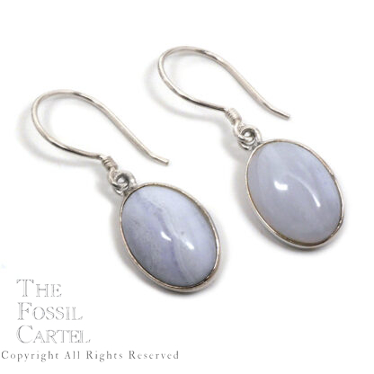Blue Lace Agate Oval Sterling Silver Earrings