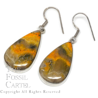 Bumble Bee Jasper Teardrop Sterling Silver Earrings