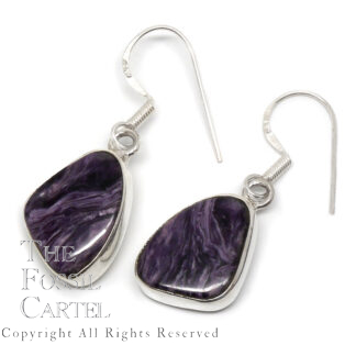 Charoite Free Form Sterling Silver Earrings