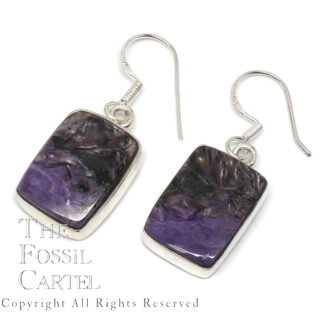 Charoite Rectangle Sterling Silver Earrings