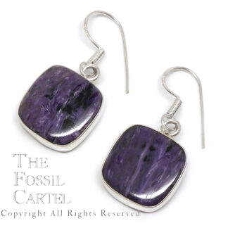 Charoite Square Sterling Silver Earrings